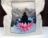 Hand Painted Cotton Tote - Buddha and Lotus MADE TO ORDER - Kezbirdie