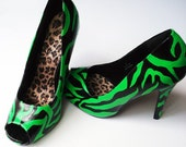 Hand Painted Heels - Toxic Zebra Peep Toe Shoes UK6/US 8.5 - Kezbirdie