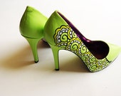 Hand painted heels - Lemon and Lime Twist  green court shoes- UK 6/ US 8.5/ EU 39  - Kezbirdie