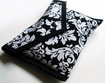 Handmade Black and White Damask Pouch - Kezbirdie
