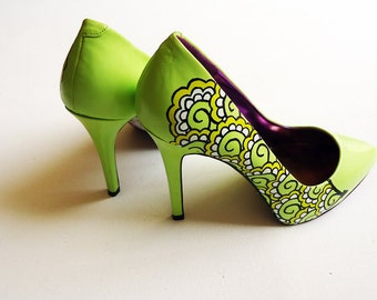 Hand painted heels - Lemon and Lime Twist  - Customize your shoes  - Kezbirdie