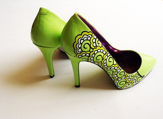 Hand painted heels Lemon and Lime Twist green court shoes