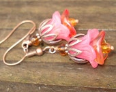 Pink Flowers - Copper, Lucite and Glass Earrings