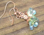 Blue and Green Flowers - Copper and Glass Earrings