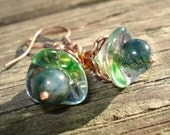 Blue n Green Flowers - Jasper, Glass and Copper Earrings