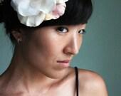 Blushing - Bridal hair piece, silk flower, ivory, peach, apricot, pink