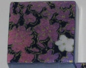 Japanese Purple and Pink Floral 1 Inch Glass Tile Magnets