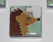 Hedgehog, Cupcake, Owl, Deer 1 Inch Glass Tile Magnets