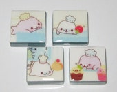 Pastry Chef Kawaii Seals 1 Inch Glass Tile Magnets