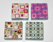 Mod Magnets in Four Patterns 1 Inch Glass Tile Magnets