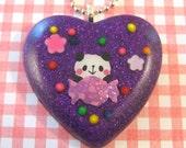 Purple Panda Resin Pendant with Ball Chain