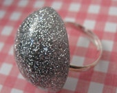 Silver Glitter Resin Ring with Adjustable Band