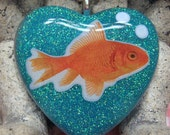 Goldfish Heart Shaped Glitter Resin Pendant with Chain