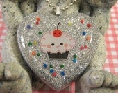 Happy Cupcake Silver Heart Resin Pendant with Chain