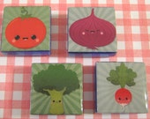 Happy Veggies on Green Background 1 Inch Glass Tile Magnets