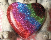 Large Rainbow Heart Resin Pendant with Chain