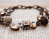 Two Strand Vintage Jewel Bracelet/ Retro Glam/SRAJD