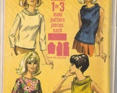 1966 Jiffy Blouses and Sweaters Simplicity 6819 Sewing Pattern Bust: 36