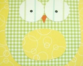 Green Yellow Gingham Owl Affordable Childrens Art for Nursery