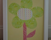 Green Floral on Yellow Flower Childrens Art Affordable