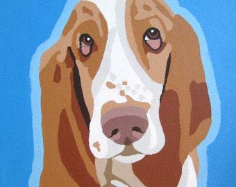 Dog Portrait 12x12 Pop Art Custom Painting of Your Animal