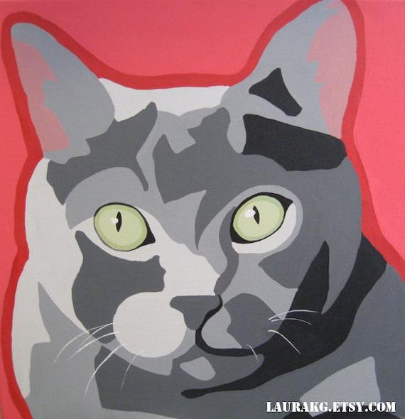 Custom 12x12 Pop Art Cat Portrait Painting of Your Pet