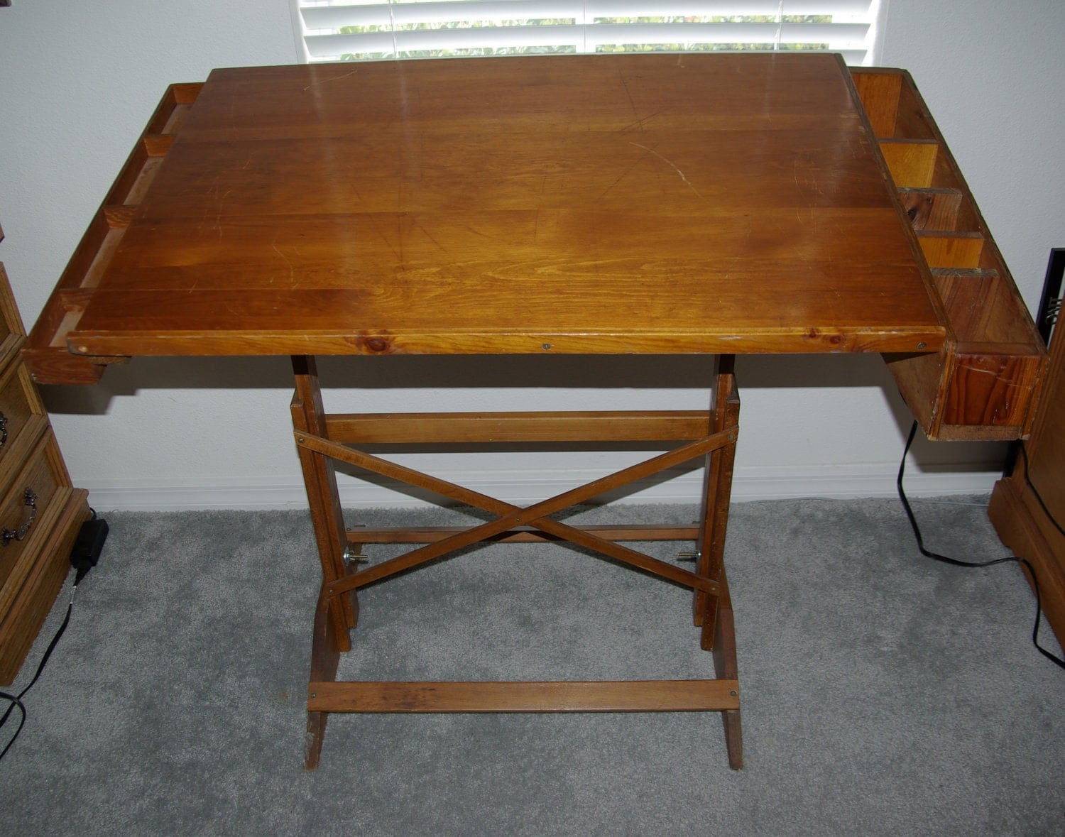 antique solid wood drafting table reserved for deb