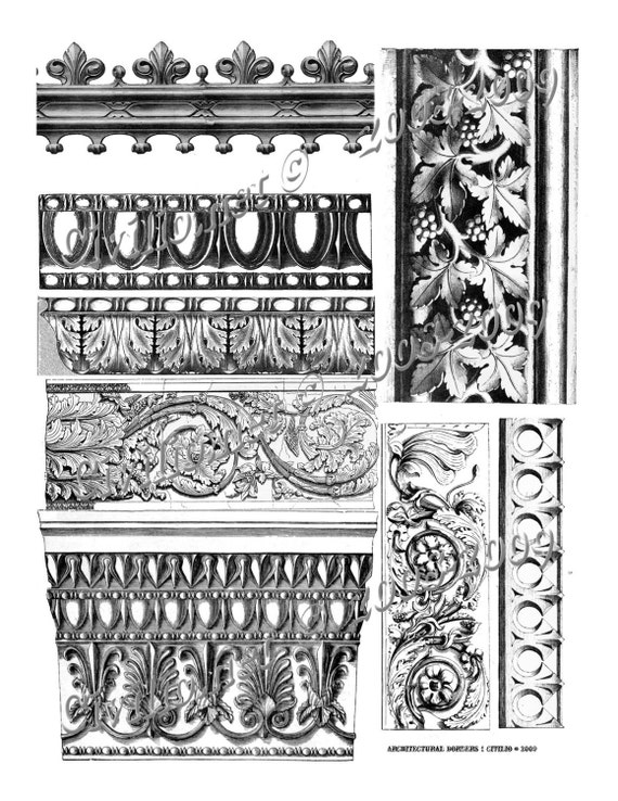 Gothic ARCHITECTURAL molding frame border collage sheet DOWNLOAD u print altered art ephemera decoupage