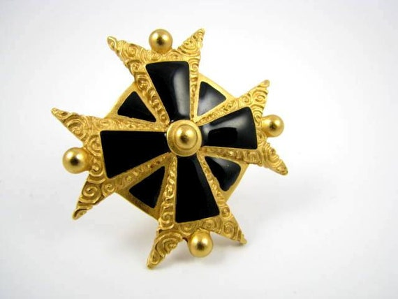 Anne Klein Gold and Black Star Brooch
