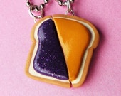 Peanut Butter and Jelly Matching Slice Best Friend Couples Necklaces - Set of 2  (R2F2)