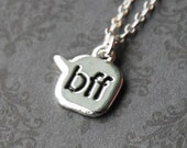 Best Friends 'BFF' Chat Text - Silver Friendship Necklace  (D3A1)