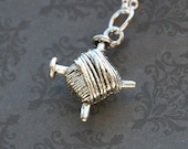 Knitters' Yarn Silver Necklace  (D3H4)
