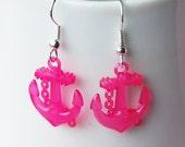 Nautical Anchor Earrings - Hot Pink Anchors