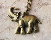 Elephant Necklace - Beautiful Bronze Elephant