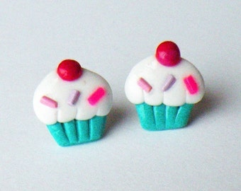 Sweet Blue Cupcake Stud Earrings