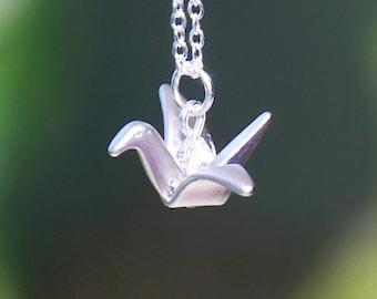 Origami Crane Crystal Necklace (R4B-A1)