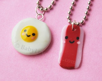 Kawaii Happy Bacon and Egg BFF Necklace (Set of 2) --- (D1A3)