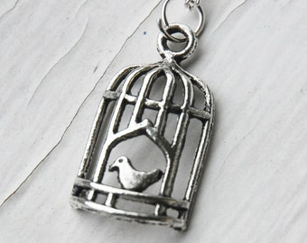 Silver Bird Cage Necklace  (D3B1)