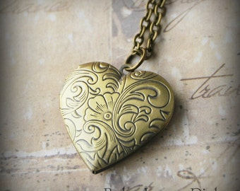 Heart Locket Necklace -  Romantic bronze keepsake