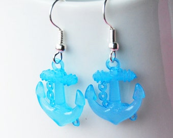 Nautical Anchor Earrings - Light Blue Anchors