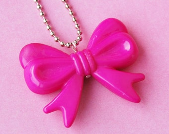 Hot Pink Ribbon Bow Necklace  (D2F2)