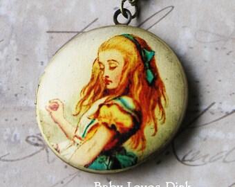 Alice in Wonderland 'Drink Me' Locket Necklace - Brass Photo Locket  (R3B-A3)