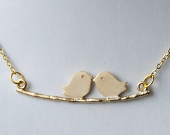Love Birds Kissing on Tree Branch - Gold Plated Couples Necklace