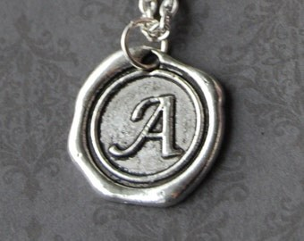 Custom Stamped Wax Seal Necklace - Personalized Initial Name Pendant - Choose your own letter