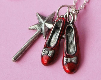 Ruby Slipper Necklace - Wizard of Oz with Magic Wand  (R1D2)