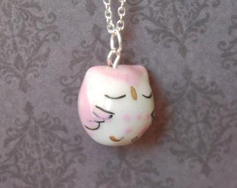 Sleepy Purple Owl Necklace - Ceramic / Glass Owl  (R3A)