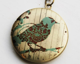Bird on Branch Modern Floral Necklace - Brass Photo Locket  (R3B-E1)