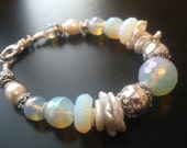 Gossamer Wings Bracelet-Opalized Quartz, Keishi Pearl, Sterling Silver RESERVED