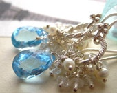 Blue Topaz and  Freshwater Pearl Earrings-Something Blue