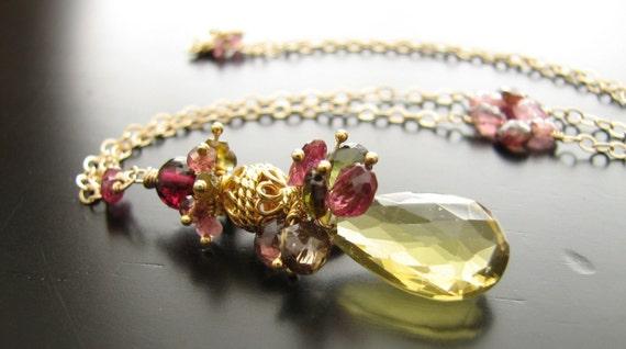 Anjou Necklace-Oro Verde Quartz, Tourmaline